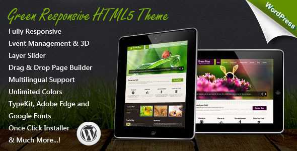 【WordPress Theme主題布景模版】Green v1.4.0 – ThemeForest Responsive WordPress Theme