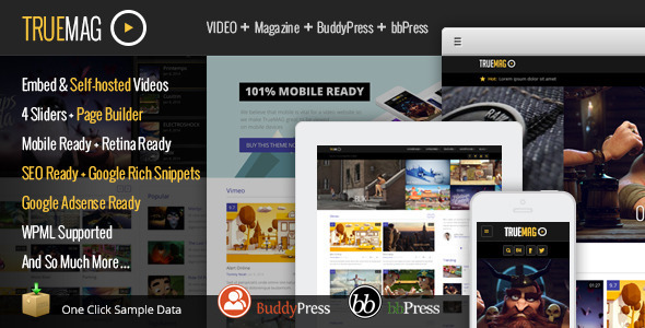 【WordPress Theme 主題布景 】 True Mag – ThemeForest WordPress Theme for Video and Magazine 模版