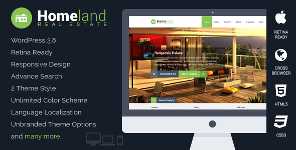【WordPress Theme 主題布景 】 Homeland v1.3.0 – ThemeForest Responsive Real Estate WordPress Theme 模版