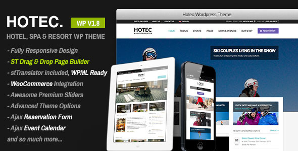 【WordPress Theme 主題布景 】Hotec v1.10 – ThemeForest Responsive Hotel, Spa & Resort WP Theme 模版